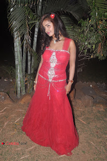 Hasika Latest Pictures in Red Long Dress at Kizhakku Santhu Kathavu En 108 Movie Audio Launch