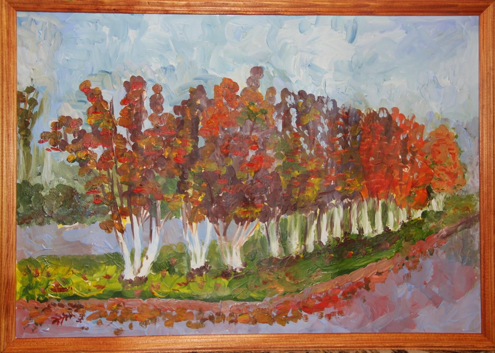 гуашь, осень, рябины, детский рисунок