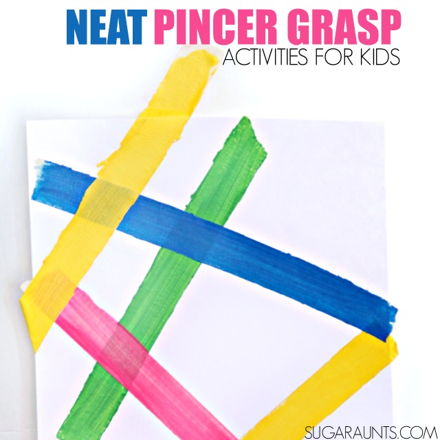 Neat Pincer Grasp activity to work on fine motor skills with kids using the precision grasp of neat pincer grasp.