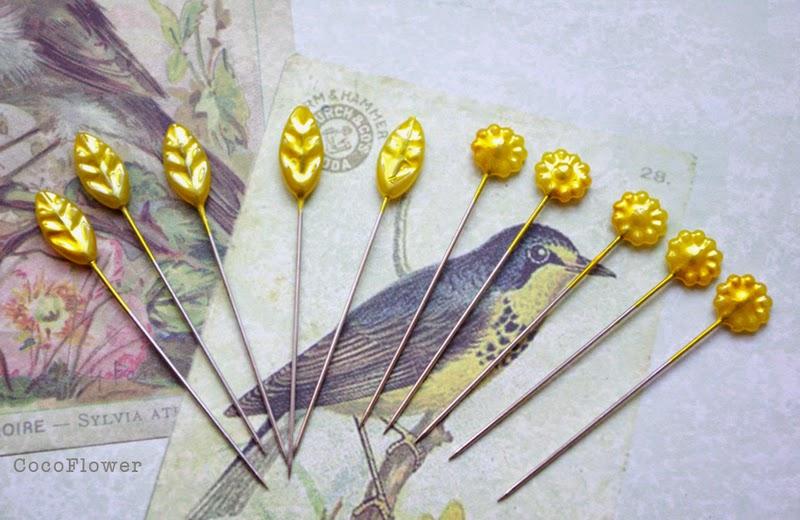 Epingles à tête feuilles et fleurs jaunes - www.cocoflower.net