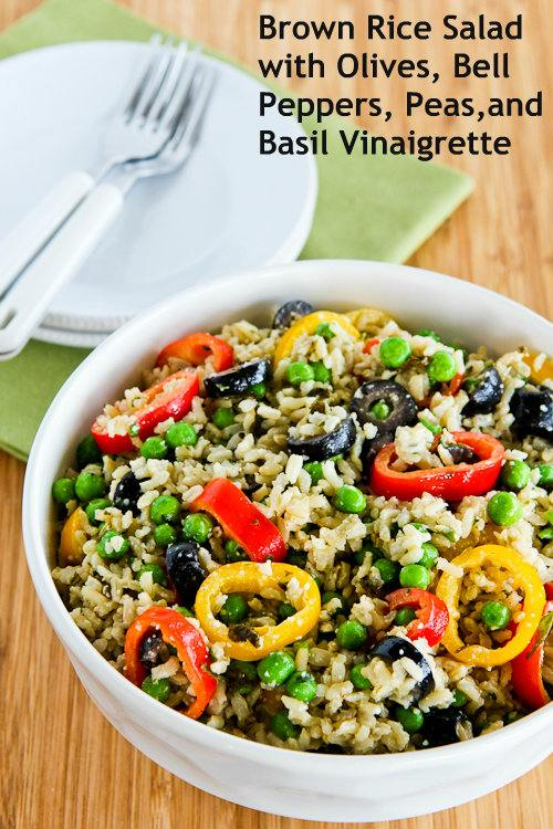 Brown Rice Salad with Olives, Bell Peppers, Peas, and Basil Vinaigrette