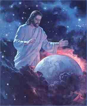 En la imagen se muestra a Dios saliendo de las tinieblas, se encuentra creando la tierra la cual sale del medio de las nubes, la cual esta iluminada por una luz naranja.