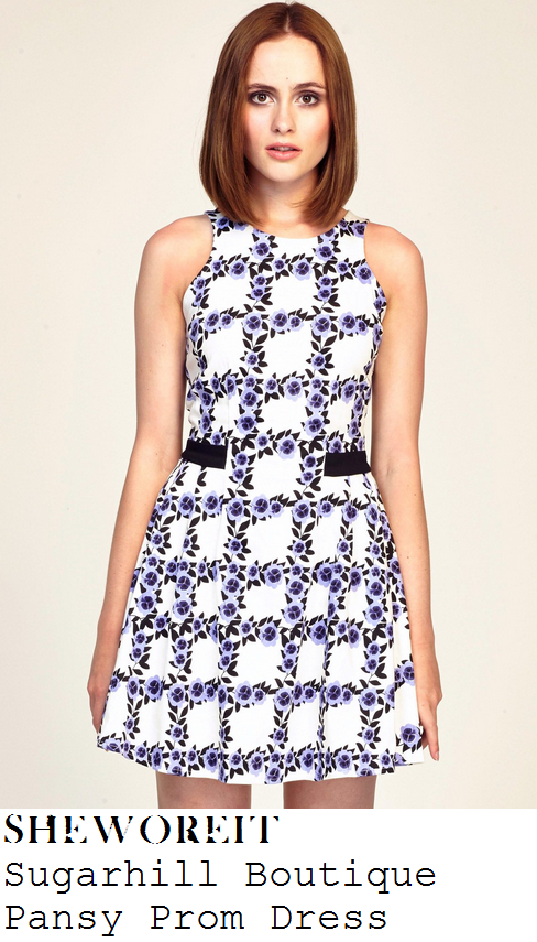 ferne-mccann-cream-off-white-purple-pansy-floral-grid-print-sleeveless-prom-dress-towie