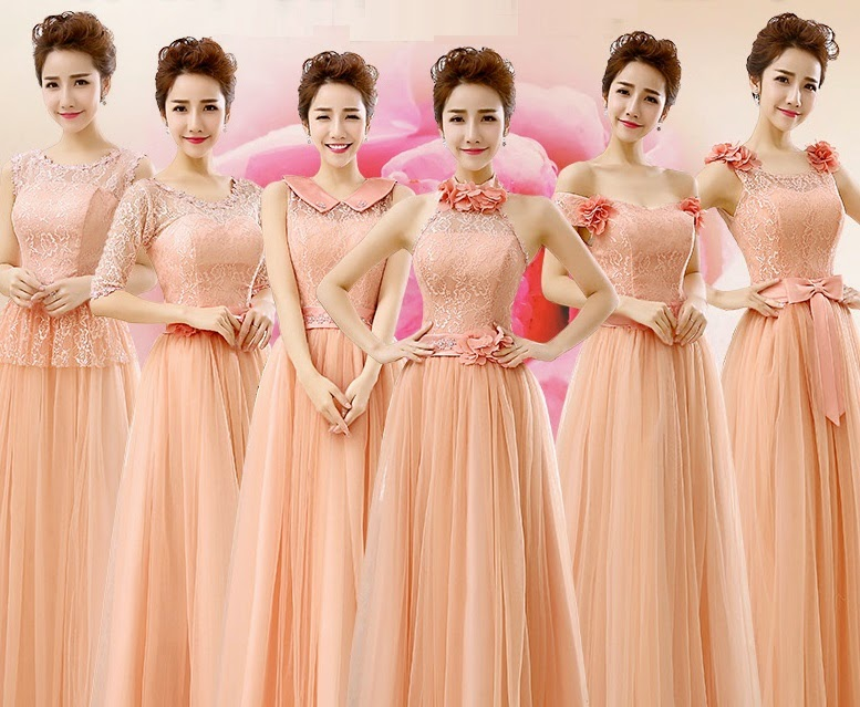 6-Design Delightful Peach Lace Top Flare Tutu Lace Bridesmaids Dress