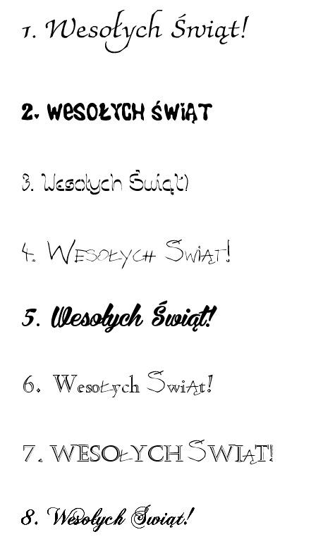 polskie czcionki - życzenia Świąteczne