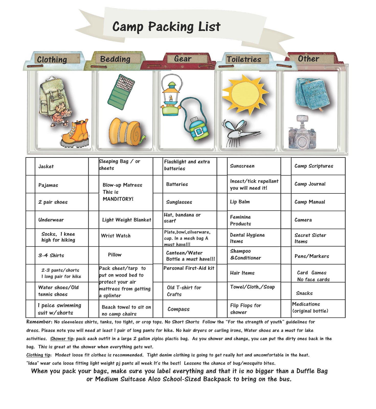 Brandon Florida Stake LDS Girls Camp Packing List