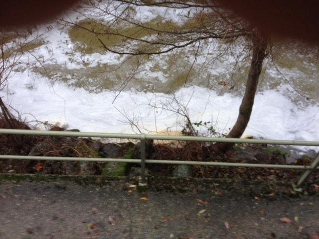 imagen del río, en algunos tramos la espuma llegó a superar el medio metro de espesor