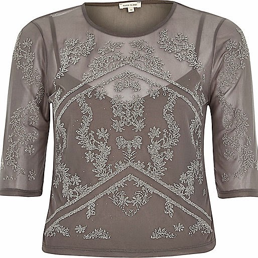 grey mesh top river island