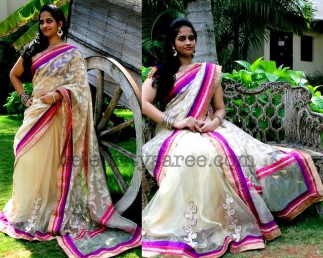 Half and Half Banaras Net Saree