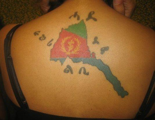 Ethiopian Flag Tattoo Tattoo of Eritrea on her back