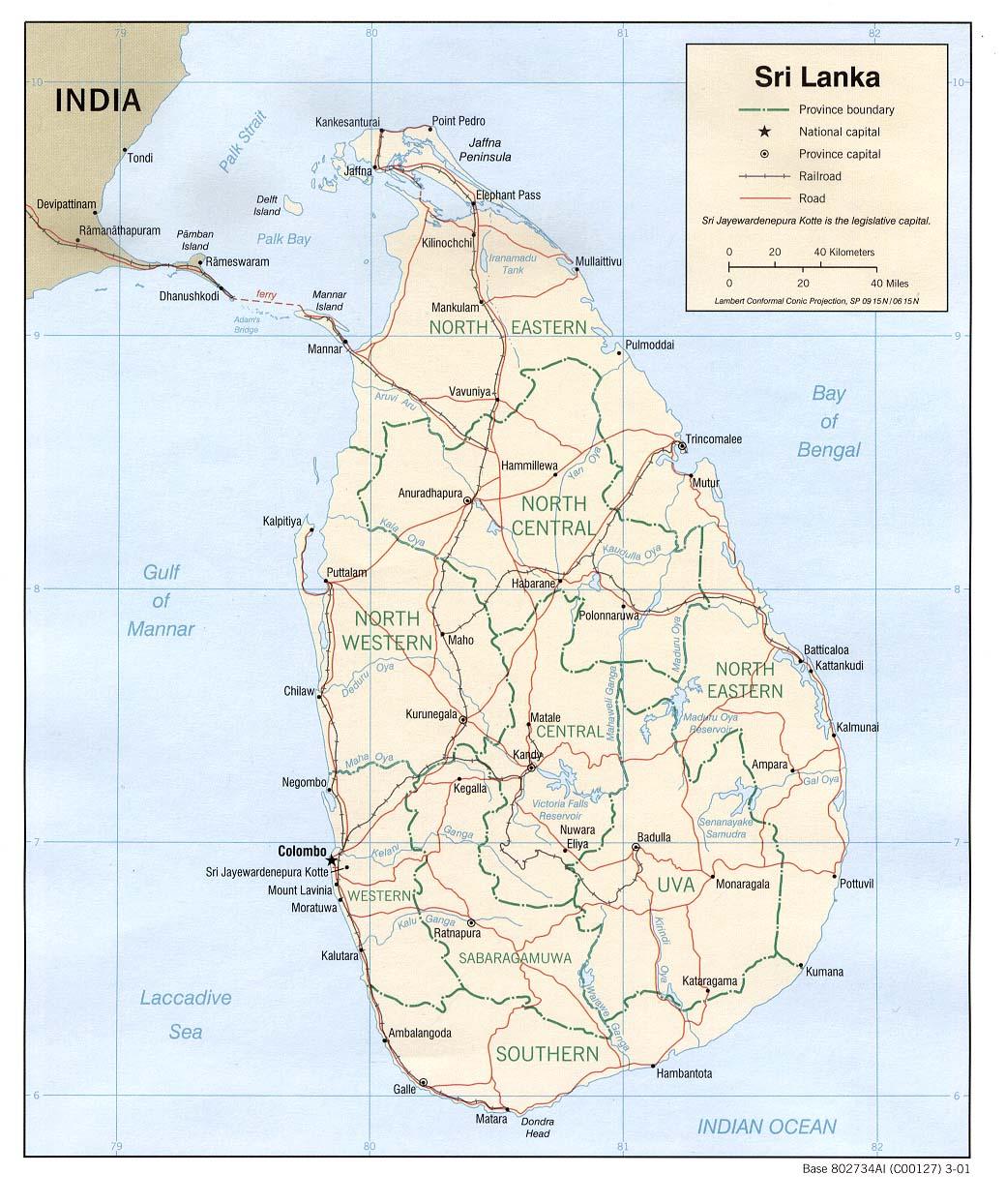 Landkarte von Sri Lanka (2001, Englisch)