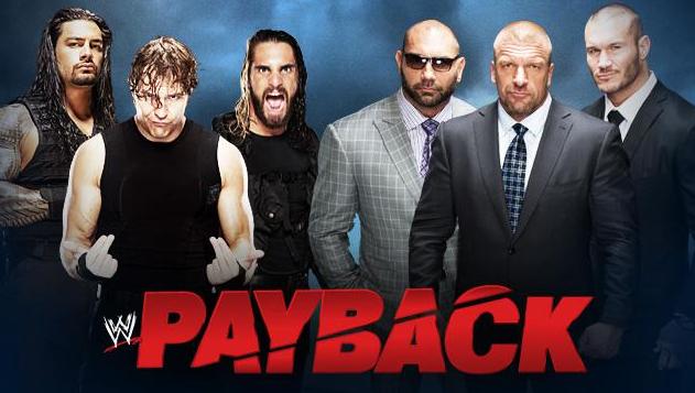 el regreso de evolution con batista, triple h y randy orton luchan en payback vs the shield