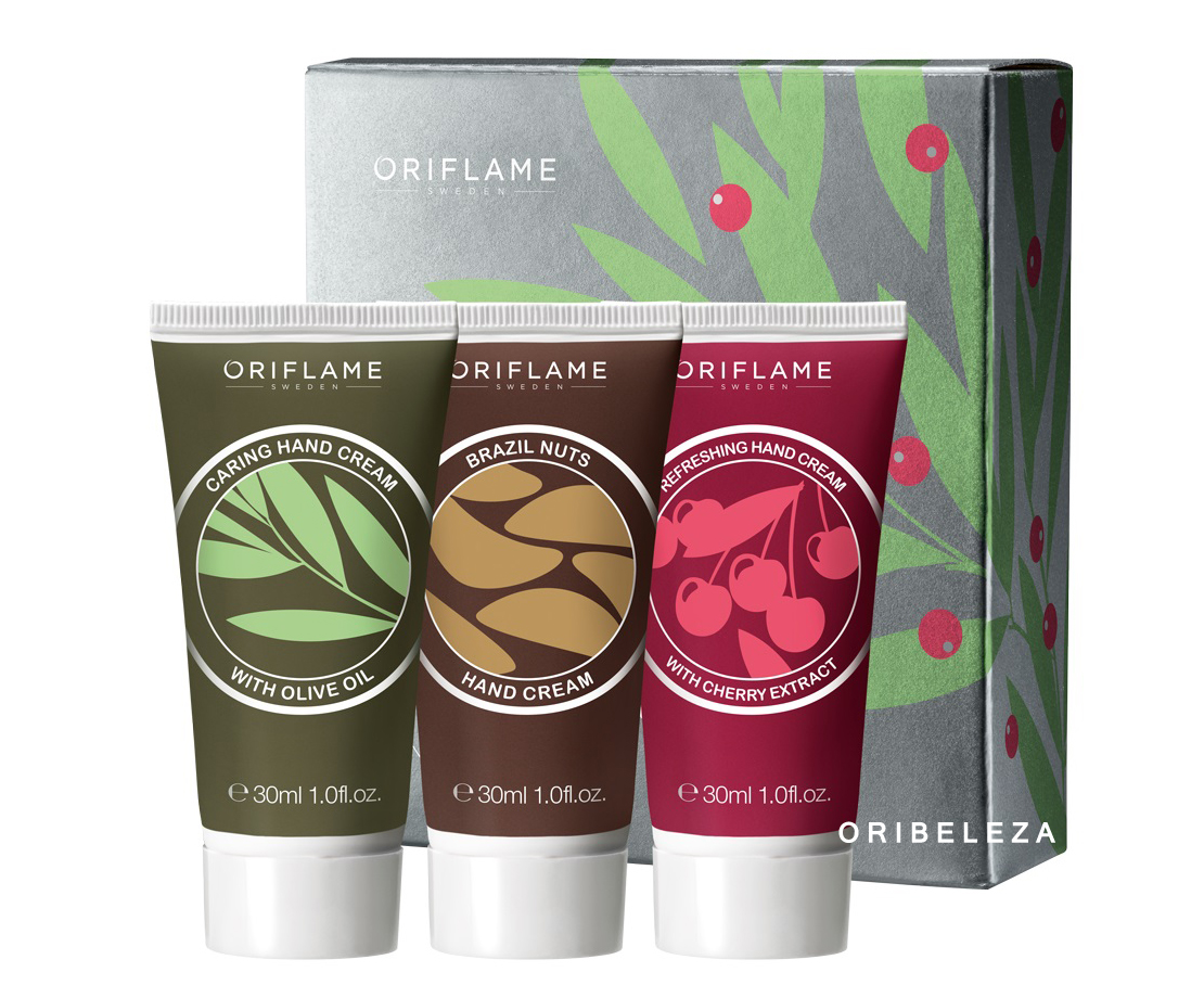 Trio de Cremes de Mãos Delights from Nature da Oriflame