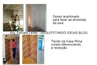 Colando tecido parede estudio Pilates - Arq Elenara Leitao