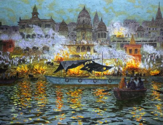 Death in Varanasi, burning ghats at Dusk by Patrick Cullen