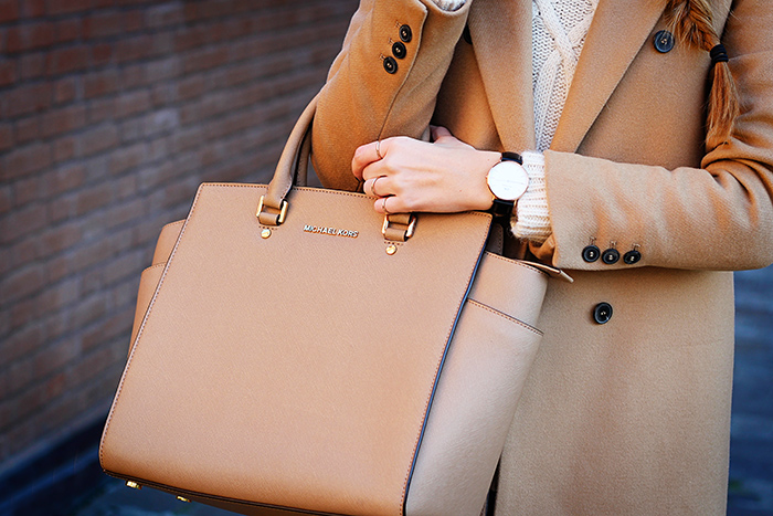 camel coat, Daniel Wellington watch, Michael Kors Selma bag, fall outfit