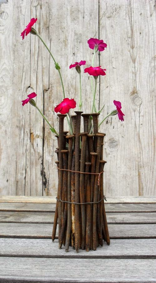 upcycled vase; carpenters nails, vintage nails