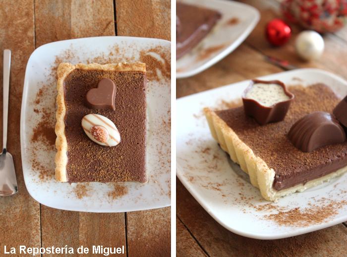 Dos imagenes forman esta fotografía, una vista desde arriba de una porción con dos bombones junto a una cuchara, lista para comer. En la otra se aprecia un trozo de porción de tarta, se aprecia el relleno de chocolate, la sensación que ofrece esta tarta es deliciosa e irresistible.
