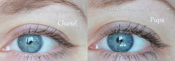 сравнение карандаша Шанель 906 и Пупа 08 на глазах свотчи