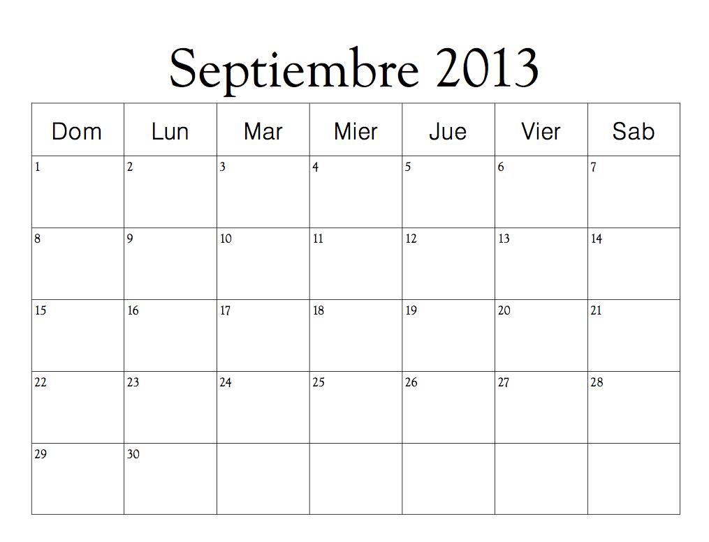Calendario Septiembre 2013Calendario Septiembre 2013
