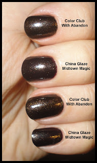 china glaze midtown magic and color club with abandon comparison