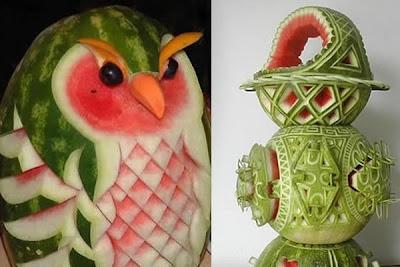 Asombrosas Esculturas realizadas con Sandias.