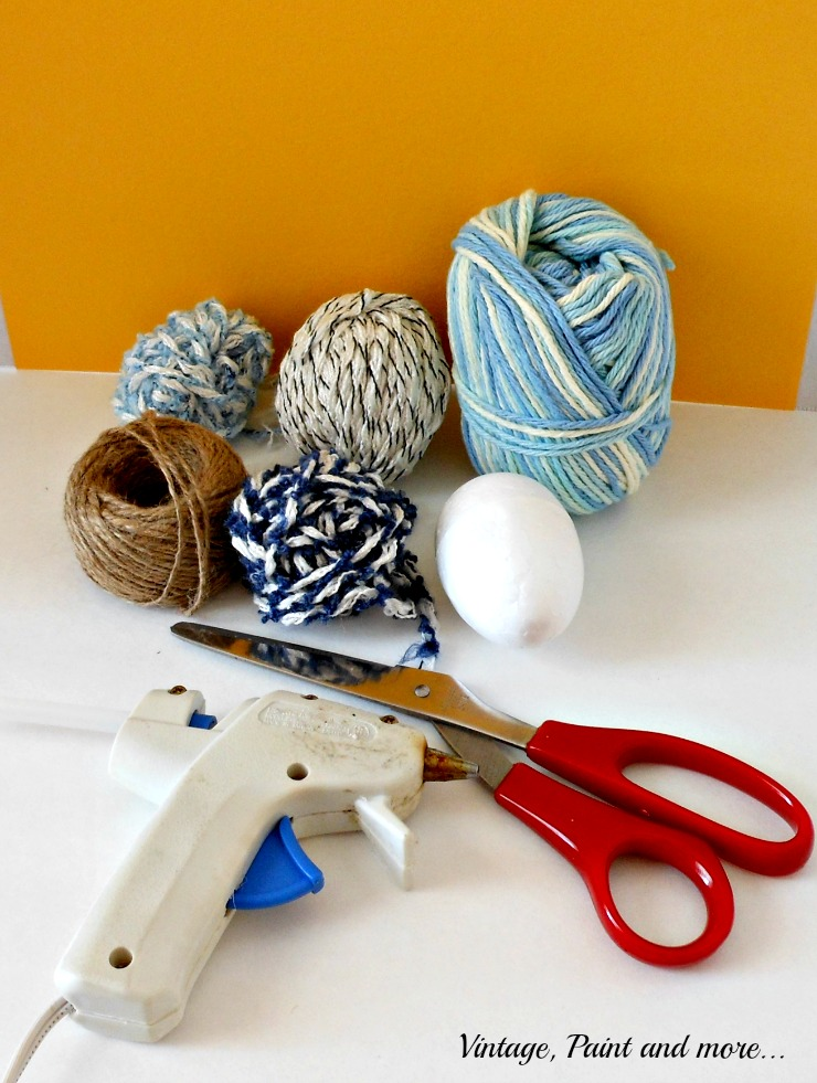 Vintage, Paint and more.. supplies - yarn and twine to make wrapped eggs