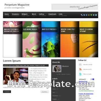 Perpetum Magazine blogger template. blogger template magazine style 3 column