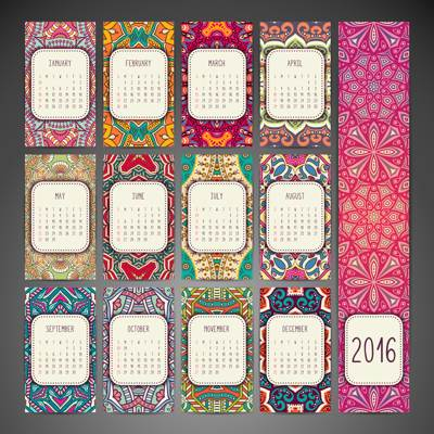 Stock Vector Template Calendar 2016 03