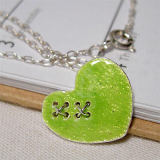 Lime Green Heart & Silver Kisses Pendant Necklace, Summer Necklace