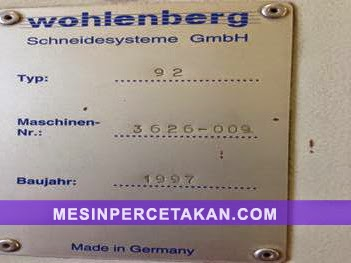 Wohlenberg 92 serial number