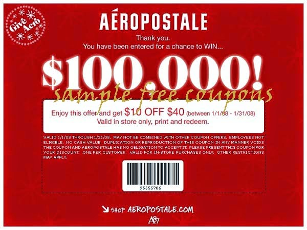 Aeropostale online coupon code free shipping