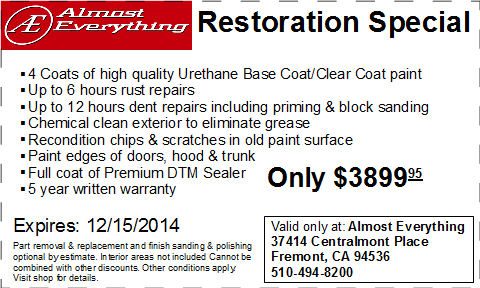 Coupon Auto Restoration Special November 2014