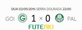 O placar de Goiás 1x0 Palmeiras pela 22ª rodada do Brasileirão 2015