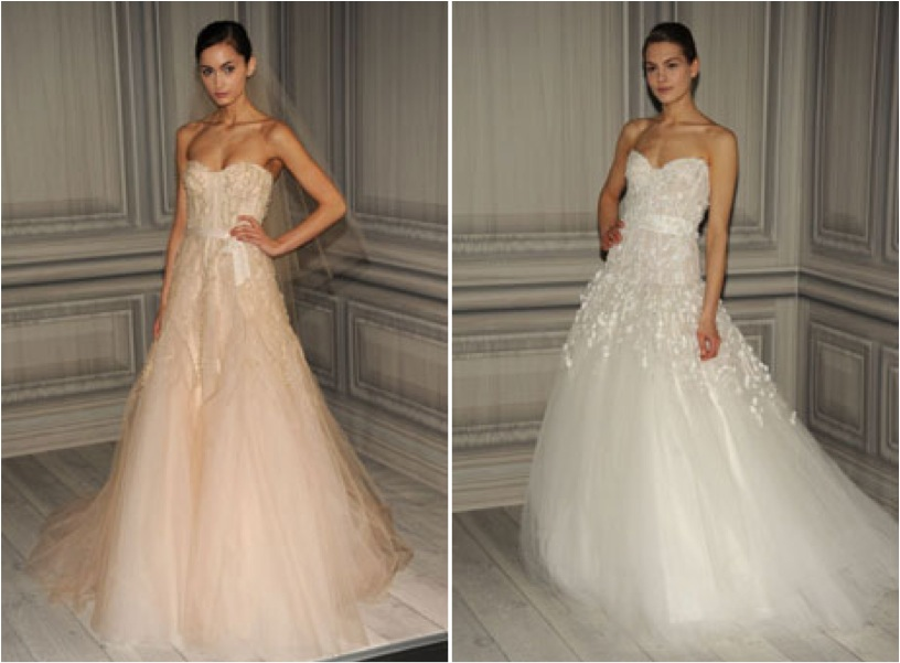 Bridal market bits monique lhuillier spring 2012 for Monique lhuillier pink wedding dress