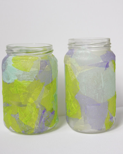 tissue paper-covered jars