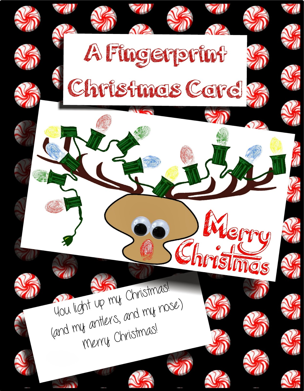 HollysHome Family Life: A Fingerprint Reindeer Christmas Card