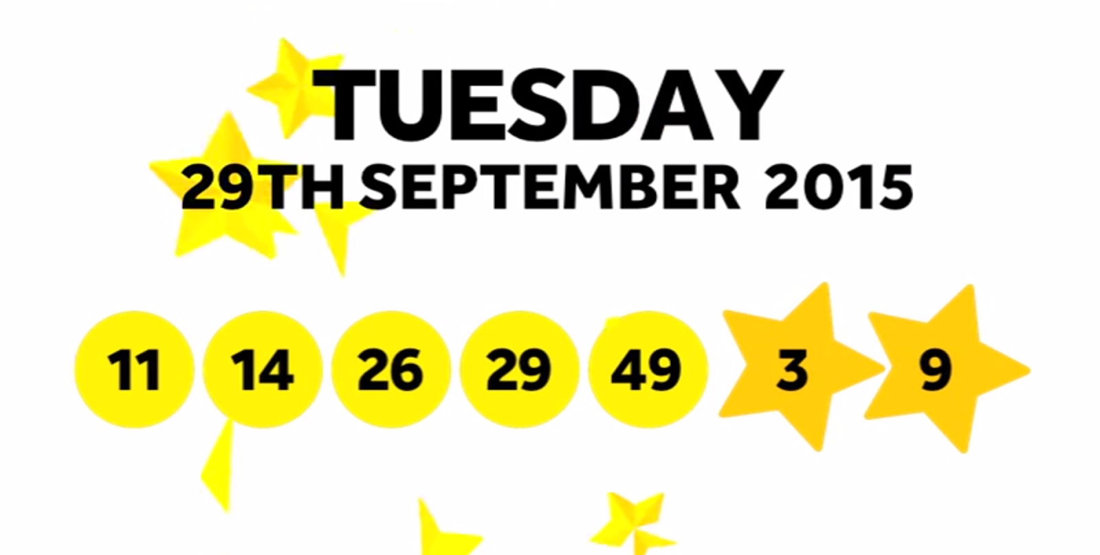The National Lottery Tuesday 'EuroMillions' draw results from 29th September 2015: 11,14,26,29,49, Lucky Stars: 3,9