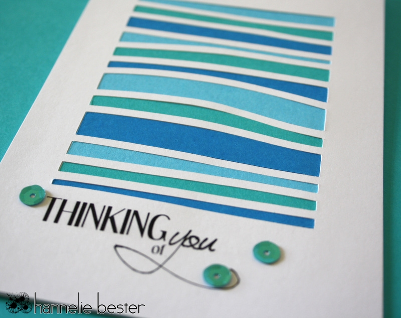 CAS thinking of you card aquatic colors