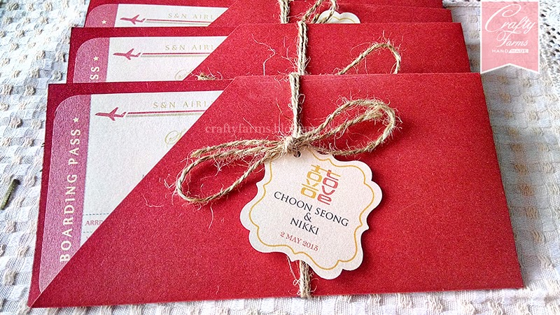 Chinese Red Wedding Card in Boarding Pass Theme