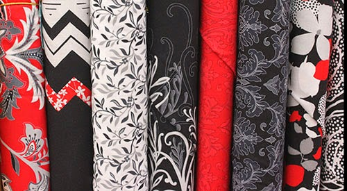 """Fabric Collection: """"Black, White, Currant 5"""" by Henry Glass Co."""