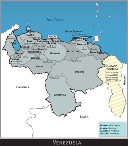 Dibujo del mapa de venezuela con sus limites - Imagui