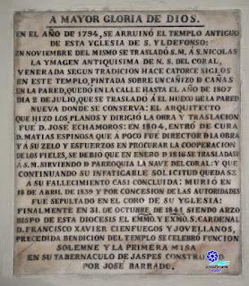 Placa conmemorativa - Iglesia de San Ildefonso - Sevilla