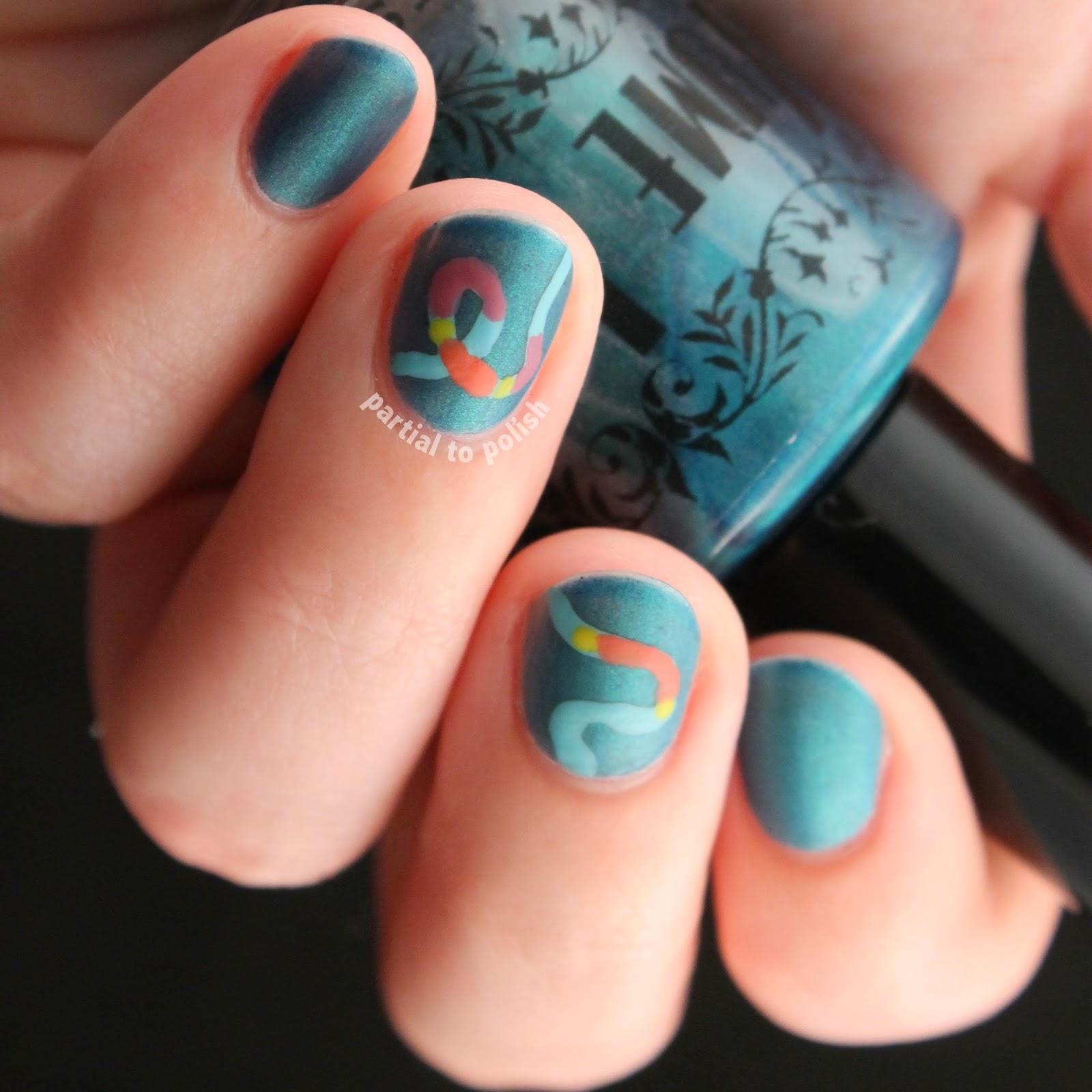 Genetics-Inspired Nail Art: Transposon Nails Featuring Mattified Yume Lacquer Submerged Siren!