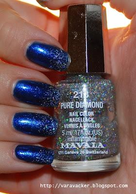 naglar, nails, nagellack, nail polish, mavala, glitter, blue, blått,