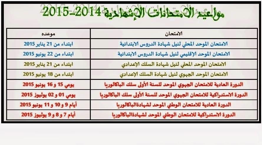 مواعيد الامتحانات الإشهادية للموسم الدراسي 2014-2015