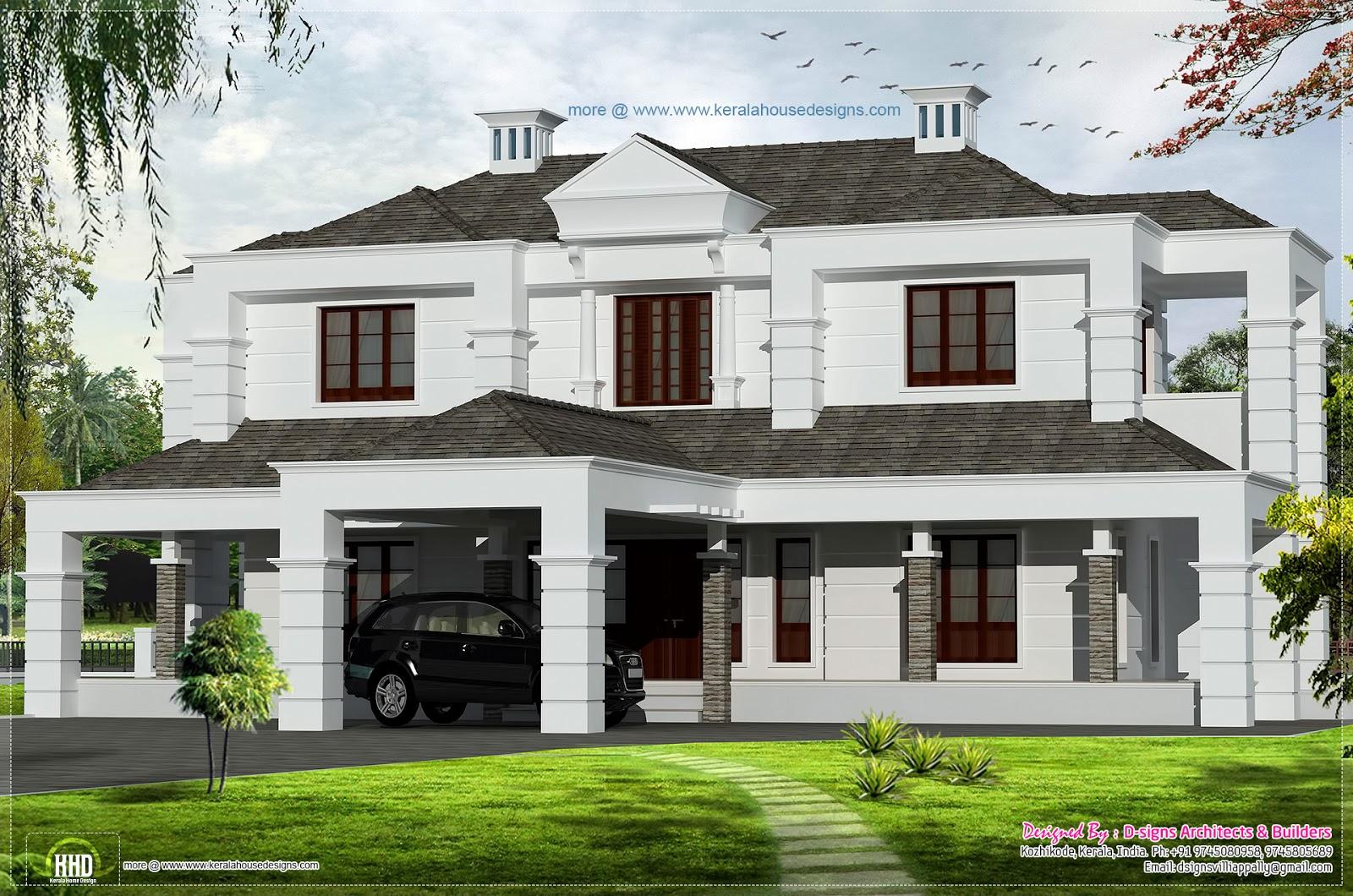 2600 villa exterior home kerala plans for Indian villa designs exterior photos