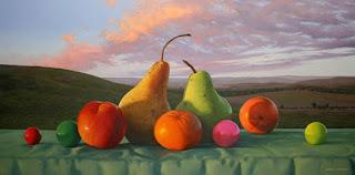 Frutas en Primer Plano y Paisajes de Fondo