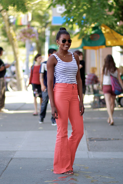 Seattle Street Style Fashion Tiffany Myles model high waisted jeans