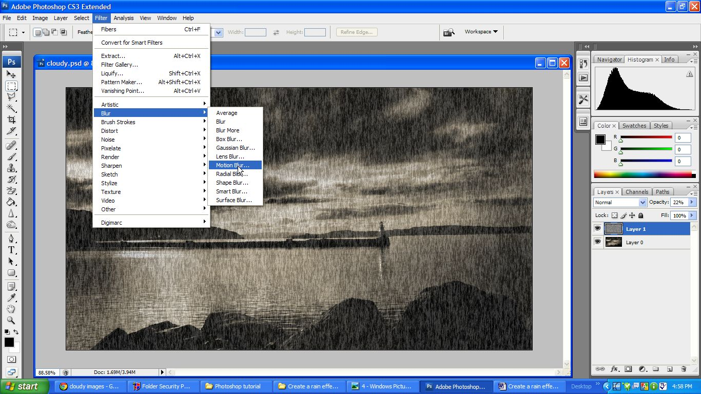 online Photoshop Tutorials-Create rain effect